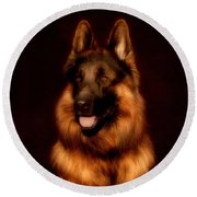 German Shepherd Portrait Round Beach Towel