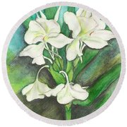 Round Beach Towel featuring the painting Ginger Lilies by Carla Parris
