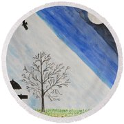 Round Beach Towel featuring the painting Girl With A Umbrella by Sonali Gangane