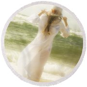 Girl With Sun Hat Round Beach Towel