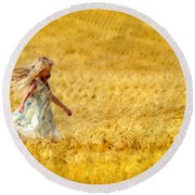 Girl With The Golden Locks Round Beach Towel