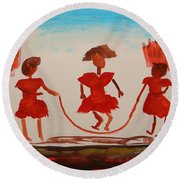 Round Beach Towel featuring the painting Girls In Red Dresses Jump Rope by Mary Carol Williams