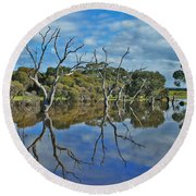 Round Beach Towel featuring the photograph Glass Lake by Stephen Mitchell
