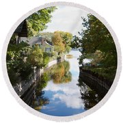 Round Beach Towel featuring the photograph Glenora Point by William Norton