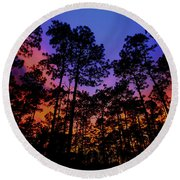 Glowing Forest Round Beach Towel