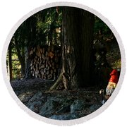 Gnome And The Woodpile Round Beach Towel