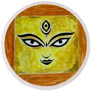 Round Beach Towel featuring the painting Goddess Kali by Sonali Gangane