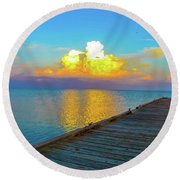 Gods' Painting Round Beach Towel