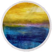 Gold And Pink Sunset Ll Round Beach Towel