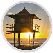 Round Beach Towel featuring the photograph Gold Coast Life Guard Tower by Eric Tressler
