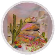 Round Beach Towel featuring the painting Gold-lined Rocks by Judith Rhue