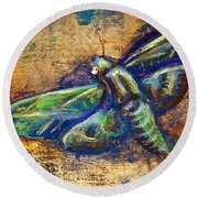 Gold Moth Round Beach Towel