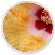 Golden And Crimson Hibiscus Round Beach Towel