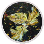Round Beach Towel featuring the painting Golden Flight by Judith Rhue
