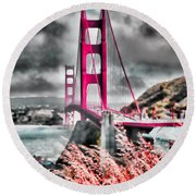 Round Beach Towel featuring the photograph Golden Gate Bridge - 5 by Mark Madere