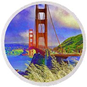 Round Beach Towel featuring the photograph Golden Gate Bridge - 6 by Mark Madere