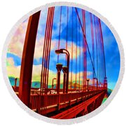 Round Beach Towel featuring the photograph Golden Gate Bridge - 8 by Mark Madere