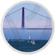 Round Beach Towel featuring the photograph Golden Gate Windsurfers by Don Schwartz