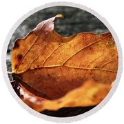 Golden Leaf Round Beach Towel