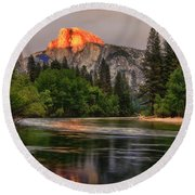 Golden Light On Halfdome Round Beach Towel