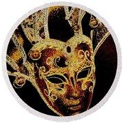 Golden Mask Round Beach Towel by Lori Seaman