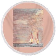 Golden Sails Round Beach Towel