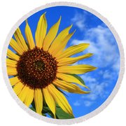 Golden Sunflower Round Beach Towel