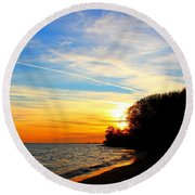 Golden Sunset Round Beach Towel