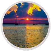 Golden Waters Round Beach Towel