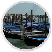 Round Beach Towel featuring the photograph Gondolas by Laurel Best