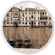 Gondolas Outside Salute Round Beach Towel