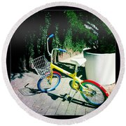Round Beach Towel featuring the photograph Google Mini Bike by Nina Prommer