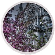 Gothic Paris Round Beach Towel