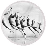 Graceful Line Of Beach Dancers Round Beach Towel
