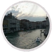 Round Beach Towel featuring the photograph Grand Canal At Dusk by Laurel Best