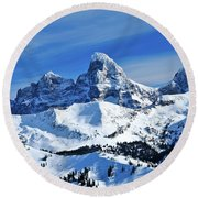 Grand Teton Winter Round Beach Towel