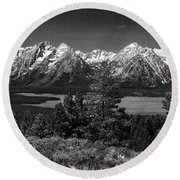 Round Beach Towel featuring the photograph Grand Tetons by Dan Wells