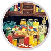 Round Beach Towel featuring the painting Granny's Cupboard by Julie Brugh Riffey