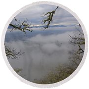Grants Pass In The Fog Round Beach Towel by Mick Anderson