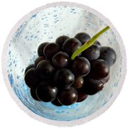 Round Beach Towel featuring the photograph Grape Cluster In Biot Glass by Lainie Wrightson