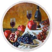Grapes And Pomgranates Round Beach Towel