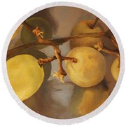 Grapes On Foil Round Beach Towel