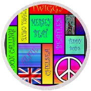 Graphic Sixties London Round Beach Towel
