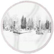 Graveyard In The Snow Round Beach Towel
