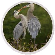Round Beach Towel featuring the photograph Great Blue Heron Couple by Myrna Bradshaw