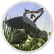 Round Beach Towel featuring the photograph Great Blue Herons by Myrna Bradshaw