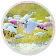 Round Beach Towel featuring the photograph Great Egret Flying by Dan Friend
