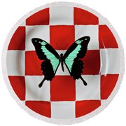 Green And Black Butterfly On Red Checker Plate Round Beach Towel