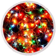 Greeting Card Christmas Color Lights Round Beach Towel