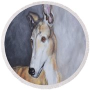 Round Beach Towel featuring the painting Greyhound In Thought by George Pedro